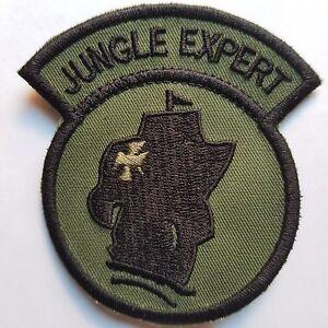 U.S. ARMY JUNGLE SCHOOL EXPERT KLETT AUFNÄHER PATCH OLIV SUBDUED TARN