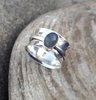Labradorite Solid 925 Sterling Silver Spinner Ring Meditation statement Ring