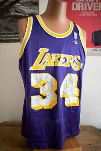 Rare Vintage Los Angeles Lakers Shaquille O'neal #34 Champion Jersey Sz 44 EUC