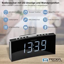 Radiowecker Uhrenradio mit Projektion, 2 Weckzeiten Display dimmbar Sleep/Snooze