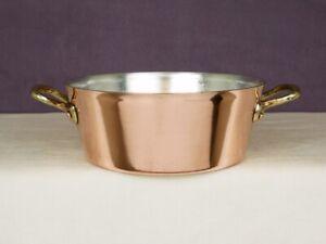 "Vintage 8"" Copper Splayed Stewpot Casserole Au Gratin Stockpot Pan Pot - New Tin"