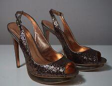 BCBGeneration Markus Bronze Glitter Slingback Heels Size 8