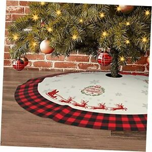 Buffalo Plaid Christmas Tree Skirt Xmas Tree Skirt Elk Tree Mats with Rustic