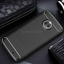 for Motorola Moto X4 Carbon Fibre GEL Case Cover & Glass Screen Protector