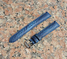 16mm Navy Blue Genuine Leather Python snake Emboss Watch Band Strap Mens,Womens