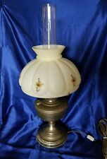 Vintage Aladdin Lamp Brass Electric Former Oil Signed Nice w/ Hurricane & Shade