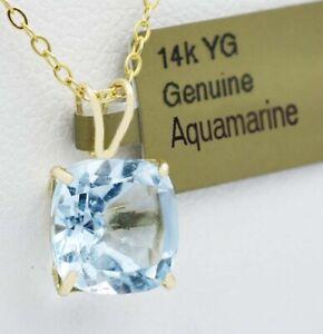 GENUINE 2.99 Cts AQUAMARINE PENDANT 14k GOLD * Free Certificate Appraisal