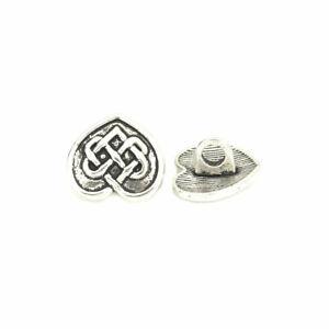 Zinc Alloy Shank Buttons Heart Antique Silver Celtic Knot 14mmx13mm -10 buttons