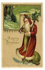 Merry Christmas-RED SUIT SANTA FILLING STOCKING W/ HOLLY CANE-Embossed Postcard