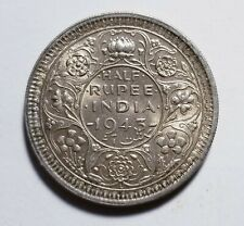 1943-L British India 1/2 Silver Rupee AU Priced Right Shipped FREE B175