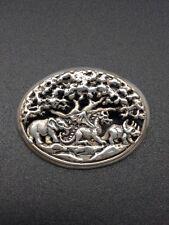 Vintage Disney 925 Sterling Silver Pendant Brooch Elephant Dragon Dinosaur RARE