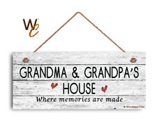 GRANDMA AND GRANDPA'S HOUSE Sign, Where Memories Are Made, Weathered 6x14 Sign