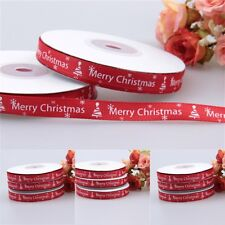 25 Yards/Roll Red Ribbon Happy Merry Christmas Decoration Gift Wrapping 10MM UK