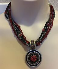 """NEW - Chico's - """"Carnation"""" red & black 5 strand beaded necklace - retail $52"""