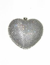 INC NEW Heart Minaudiere Crystal Clutch Sparkles Womens Purse Small $100