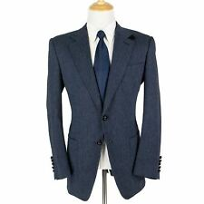Tom Ford Blue Wool Suede Trim Basketweave Leather Btns Triple Patch Jacket 44L