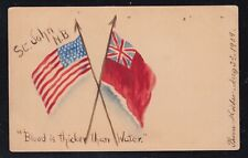 Canada USA 1909 PATRIOTIC CROSSED-FLAGS HAND-PAINTED Postcard St John NB