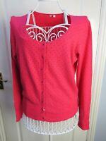 WHITE STUFF Pink Polka Dot CASHMERE Blend Cardigan 16 Sparkle Lambswool Knit