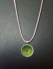 """Hummingbird Pendant On a 18"""" Pink Cord Necklace With Clasp Birthday Gift N42"""