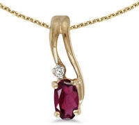 14k Yellow Gold Oval Rhodolite Garnet & Diamond Wave Pendant (no chain)
