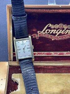 VINTAGE RARE LONG MENS LONGINES 14K DIAMOND DIAL WRISTWATCH W/ BOX 9LT 17 JEWELS