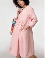 "🌱🍃🌱🍃 【NEW】 Gorman  ""GROWERS"" Pink Linen Smock Curve Dress Size  16-18"
