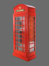 British Phone Booth Cabinet - London Red Telephone Box 6Ft Display Cabinet