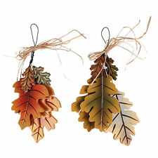 Fall Harvest Thanksgiving 2 Piece 3 Leaves Cluster Wall Hanging Décor Set