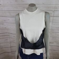 Topshop New Women's White Muscle Tank Top With Black Ribbon Front Size 4 Hh11