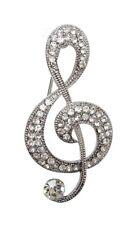 Music Rhinestone Crystal White Brooch Silver Pattern treble clef