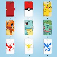 Pokemon Team Wallet Case Cover Samsung Galaxy S3 4 5 6 7 8 Edge Plus Note 060