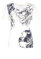 Betty Barcley womens white/black floral top size: 10 . *13