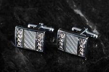 Vintage Cuff Links Checkered Pattern Enamel w Rhinestones Silver Plated Brass