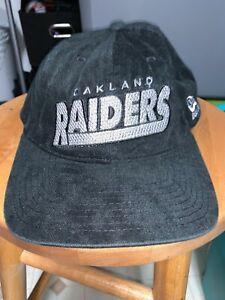"Nice Oakland Raiders Black Cap Hat New Era Soft ""Corduroy"" Feel Snapback OSFA"