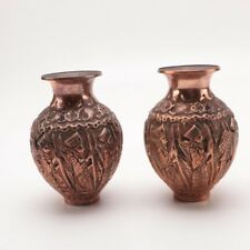 Old Hand-Carved Solid Copper vases with Ornate Carvings of Sumerian Figures