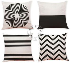 Popular Geometry Pattern Home Decor Cotton Linen Cushion Pillow Case Set of 4!!