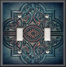 Metal Light Switch Plate Cover - Rustic Medallion Home Decor Blue Rust