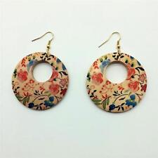 PRINTED LARGE WOODEN EARRINGS - GOLD PLATED WIRES - FREE UK P&P ........CG0703