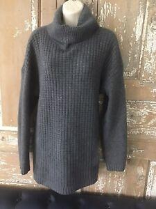talbots 100% cashmere sweater heavy knit side zippers turtleneck XL gray Pockets