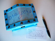 Christian Prayer Box Wooden Chest ~ Hand Painted Blue ~ Excellent Gift