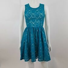 French Connection dress lace blue 2 fit flare a-line sleeveless floral skater