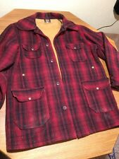 Vtg WOOLRICH Mens wool Mackinaw hunting jacket red & black plaid Large L