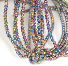 3MM IRON PYRITE GEMSTONE TITANIUM RAINBOW FACETED ROUND 3MM LOOSE BEADS 7.5""