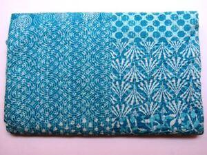 Indigo Hand Block Print Kantha Quilt Cotton Patchwork Bedspread Ralli Twin Size