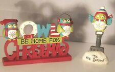 2 Blossom Bucket Resin Figurines Owl Be Home For Christmas &  Tis The Season NEW