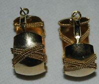 "Vintage 80s Pierced Gold Tone Metal Wire Wrapped Hoop Earrings 1.5"" Chunky"