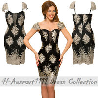 Gold Floral Pattern Little Black Dress Embroidered Puff Sleeves Sweetheart Neck