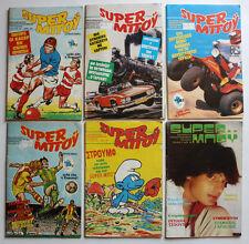 6 X RARE VINTAGE 1983-1984 SUPER BOY GREEK COMICS STAR WARS MOTU SMURFS NOS !
