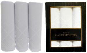 "Mens White Square Handkerchief Poly Cotton Boxed Gift Hankies Hankerchiefs 14.5"""