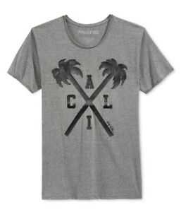 Ring Of Fire Mens Cali Palms Graphic T-Shirt, Grey, XX-Large